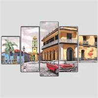 Küba Havana - 5 Parçalı Kanvas Tablo - 133X75 Cm