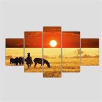 Afrika Savana - 5 Parçalı Kanvas Tablo - 133X75 Cm