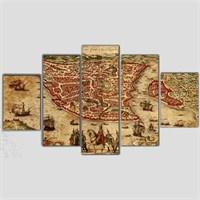 Konstantinapolis - 5 Parçalı Kanvas Tablo - 133X75 Cm