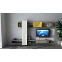 Fark Tv Ünitesi Parlak Beyaz / Koyu Sarı/Gri