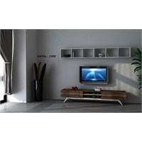Hayal 1255 Tv Ünitesi Leon Ceviz/Parlak Beyaz