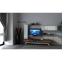 Hayal 12338 Tv Ünitesi Leon Ceviz/Parlak Beyaz