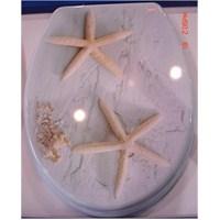 Dekor MDF Kum Deniz Yıldızı Desenli Klozet Kapağı