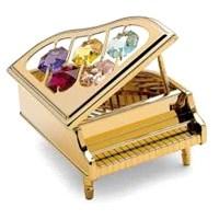 Swarovski Taşlı Minyatür Piyano - Dore