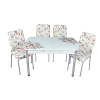 Mutfak Cam Masa Takımı Otomatik Açılır Beyaz Buket Desen (4 Suni Deri Sandalyeli)