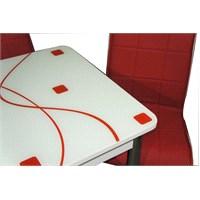 Masa Ortadan Açılır Kırmızı Kare Desen