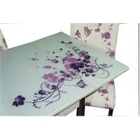 Mavi Mobilya Masa Yandan Açılır Lila Çiçek Desen