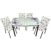 Mavi Mobilya Mutfak Cam Masa Takımı Ortadan Açılır Lila Çiçek Desen (6 Suni Deri Sandalyeli)