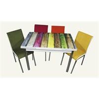 Mutfak Cam Masa Takımı Yandan Açılır Gökkuşağı Desen (6 Kumaş Sandalyeli)