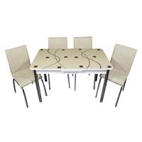 Mavi Mobilya Mutfak Cam Masa Takımı Ortadan Açılır Cappuccino Kare Desen (6 Suni Deri Sandalyeli)