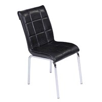 Mavi Mobilya Sandalye Parlak Siyah Suni Deri (6 Adet)
