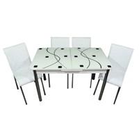 Mavi Mobilya Mutfak Cam Masa Takımı Ortadan Açılır Beyaz Kare Desen (6 Suni Deri Sandalyeli)