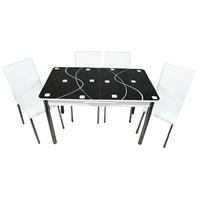 Mavi Mobilya Mutfak Cam Masa Takımı Ortadan Açılır Siyah Kare Desen (4 Suni Deri Beyaz Sandalyeli)