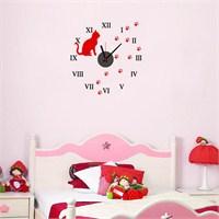 Hardymix Kedi Tasarımlı Duvara Yapışan Saat