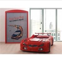 Arabalı Yatak - Bmw Garaj Dolap - Kırmızı
