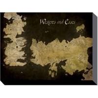 60x80 Kanvas Tablo Game Of Thrones - Westeros And Essos Antique Map