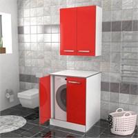 Öykü Çamaşır Makinesi Dolabı Kırmızı