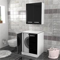 Öykü Çamaşır Makinesi Dolabı Siyah