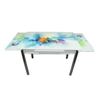 Mavi Mobilya Masa Yandan Açılır Turkuaz Çiçek Desen