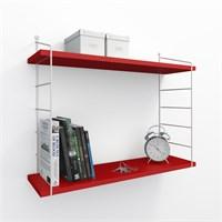 Decormet Armoni Raf ve Kitaplık Seti 2 Raflı 200X720 Beyaz-Parlak Kırmızı