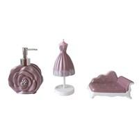 Bosphorus İncili Kadın Elbisesi Poliresin Banyo Set 3lü