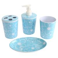Bosphorus Mavi Çiçekli Melamin 4'lü Banyo Seti