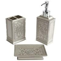 Bosphorus Dekoratif İşlemeli Gümüş Poliresin Banyo Set 3 Lü