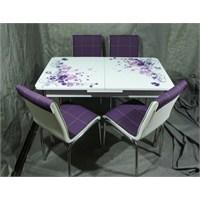 Mutfak Cam Masa Takımı Ortadan Açılır Lila Çiçek Desen (4 Suni Deri Mürdüm Sandalyeli)