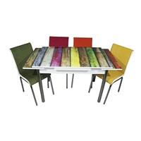 Mutfak Cam Masa Takımı Yandan Açılır Gökkuşağı Desen (4 Kumaş Sandalyeli)