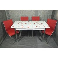 Mavi Mobilya Mutfak Cam Masa Takımı Ortadan Açılır Kırmızı Kare Desen (4 Suni Deri Sandalyeli)