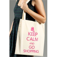 Urbangiftkeep Calm And Go Shoppıng Cotton Tote Bag 40*40Cm