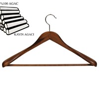 Nyn Ahşap Ceviz 50 mm Omuzlu Takım Elbise Askısı