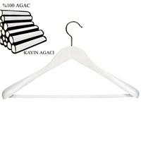 Nyn Ahşap Beyaz 50 mm Omuzlu Takım Elbise Askısı