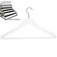 Nyn Ahşap 4 lü Beyaz Barlı Elbise Gömlek Askısı