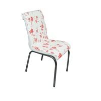 Mavi Mobilya Sandalye Kırmızı Çiçek Suni Deri (4 Adet)
