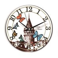 Time Gold Sera Duvar Saati Galata Kulesi Kelebekler