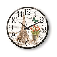 Time Gold Side Duvar Saati Paris Kelebek Çiçekler