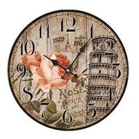 Time Gold Mdf Duvar Saati Paris Çiçek
