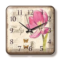 Time Gold Color Duvar Saati Kırmızı Çiçek