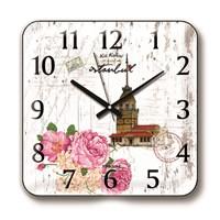 Time Gold Panaroma Duvar Saati Kız Kulesi Çiçek