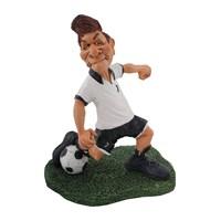 Siyah Beyaz Futbolcu Figürlü Biblo