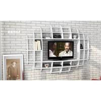 Sanal Mobilya Yeni Nesil Elips Tv Ünitesi & Kitaplık-Parlak