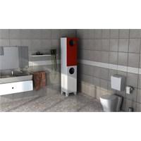 Sanal Mobilya Quantum Banyo Dolabı-Kırmızı/Beyaz