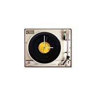 Tictac Gerçek 45'Lik Plaklı Pikap Görünümlü Kanvas Saat - Metalik1