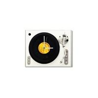 Tictac Gerçek 45'Lik Plaklı Pikap Görünümlü Kanvas Saat - Beyaz1