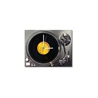 Tictac Gerçek 45'Lik Plaklı Pikap Görünümlü Kanvas Saat - Metalik3