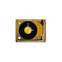 Tictac Gerçek 45'Lik Plaklı Pikap Görünümlü Kanvas Saat - Sarı