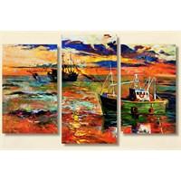 Tictac Tekneler - 3 Parçalı Kanvas Tablo