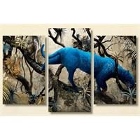 Tictac Mavi Panter - 3 Parçalı Kanvas Tablo