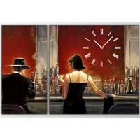 Tictac Kırmızı Cafe - 2 Parçalı Asimetrik Kanvas Saat Büyük Boy